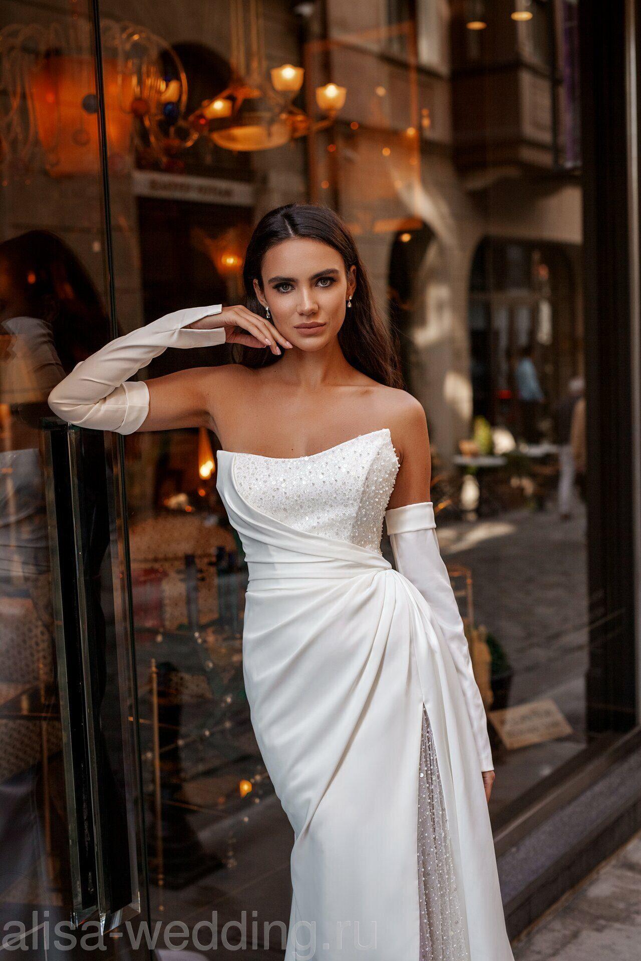 Свадебные платья силуэтные кружевные